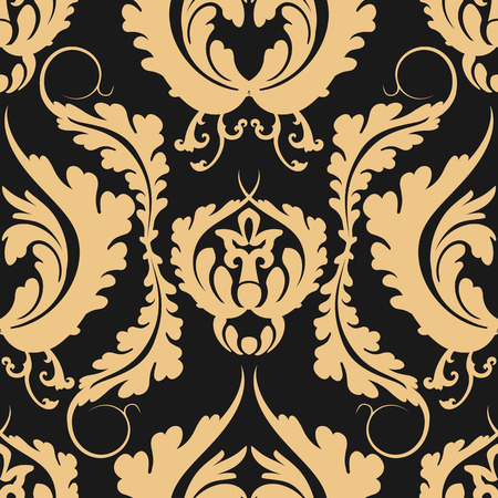 Vintage seamless pattern Damascus. Elegant large golden flowers on a dark background. Can be used to design fabrics, wallpaper, web page background. Vector illustration.