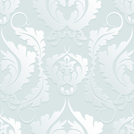 Seamless Floral 3d pattern Damascus. Elegant large flowers on a light background. Can be used to design fabrics, wallpaper, web page background. Vector illustration.