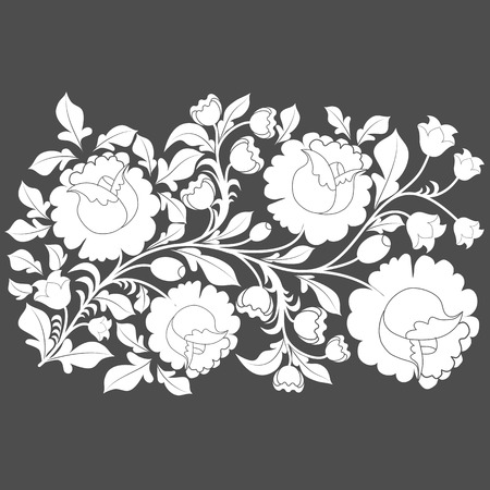 flowerhead: White roses and leaves on a gray background. Vector illustration.