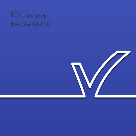 creative: White check mark symbol and icon for approved design concept and web graphic on blue background. Vector illustration.