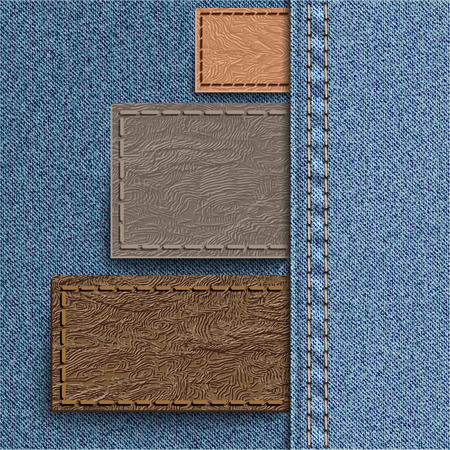 pelt: Three leather label sewn into denim. Jeans background can be used for infographics and other.  Vector illustration.