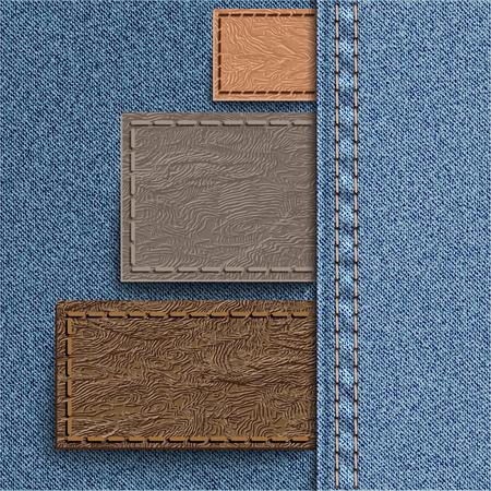 denim jeans: Tres etiqueta de cuero cosido en denim. Jeans de fondo puede ser utilizado para infograf�as y otros. Ilustraci�n del vector. Vectores