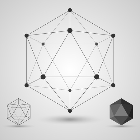Frame volumetric geometric shapes with edges and vertices. Geometric scientific concept. Vector illustration. Иллюстрация