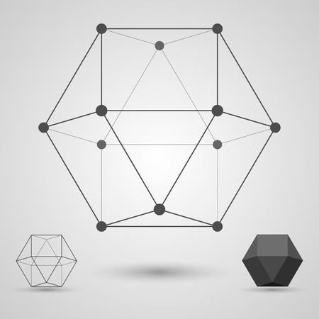 polyhedral: Volume geometrical figure in the form of a skeleton. Concept of business and scientific ties. Vector illustration. Illustration