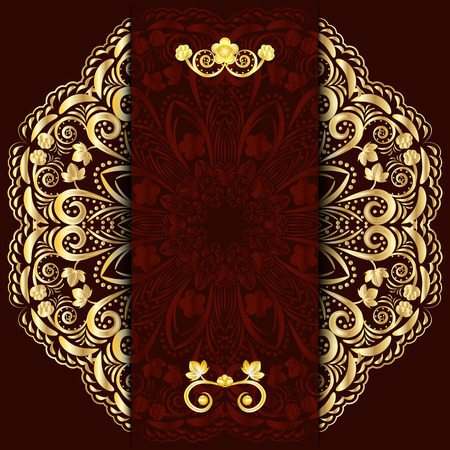 Rich dark background with gold floral mandala. Template for menu, greeting card, invitation or cover. Vector illustration.