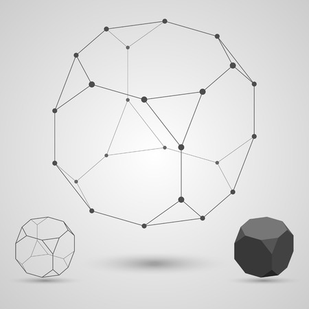 polyhedral: Outline of the polyhedron on a gray background. The concept of interdependence. Vector illustration. Illustration
