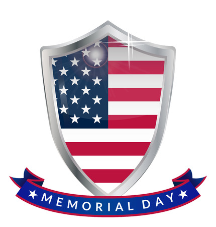 memorial day: Memorial Day silver shield and ribbon with the inscription. Vector illustration. Illustration