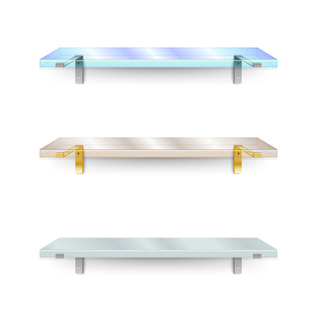 glass shelves: Set of shelves. Two different glass shelves and one opaque. Vector illustration.
