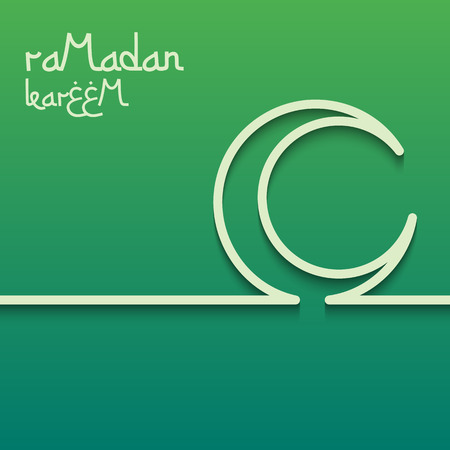Concept card for ramadan kareem celebration. Bright green background. The inscription Ramadan Kareem. Vector illustration. Illustration