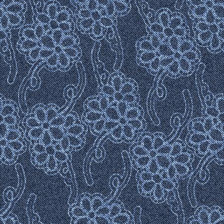 jeans background: Seamless jeans background with white floral pattern. Blue denim. Vector illustration. Illustration