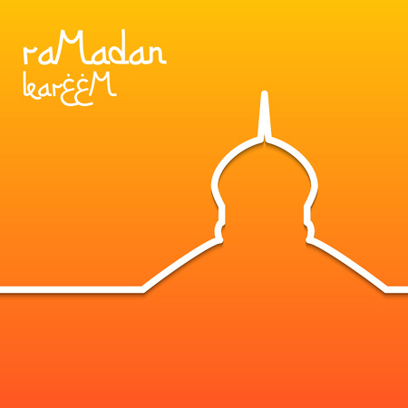 salam: Template design concept card for ramadan kareem celebration. Bright orange background. The inscription Ramadan Kareem. Vector illustration.