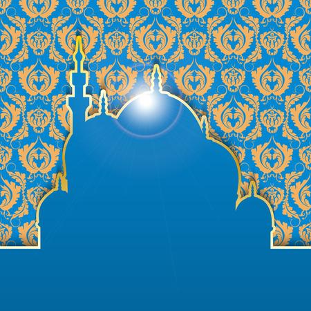 generous: Fondo de felicitación a fiesta musulmana del Ramadán. Fondo azul con el patrón oro. La inscripción en árabe Generoso Ramadán. Ilustración del vector.