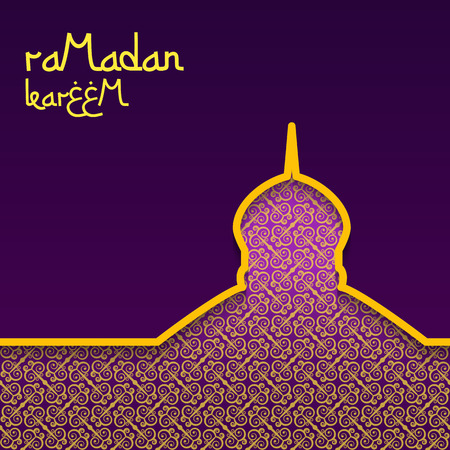 Template design concept background for ramadan kareem celebration. Purple background with gold pattern. The inscription Ramadan Kareem. Vector illustration.