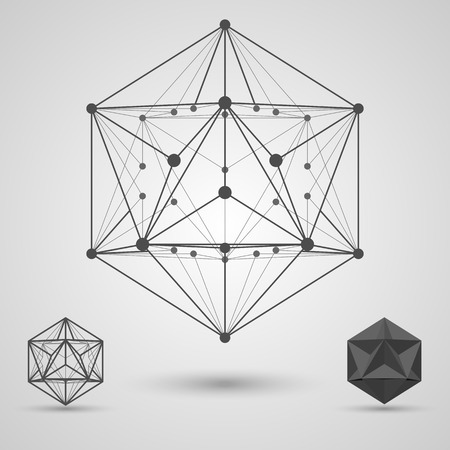 icosahedron: Monochrome frame of connected lines and dots. Great dodecahedron stereometric element. Vector illustration.