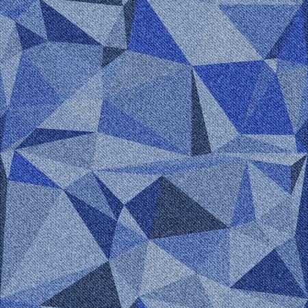 Fond denim avec motif polygonal transparente. Différents tons de bleu. Vector illustration. Vecteurs