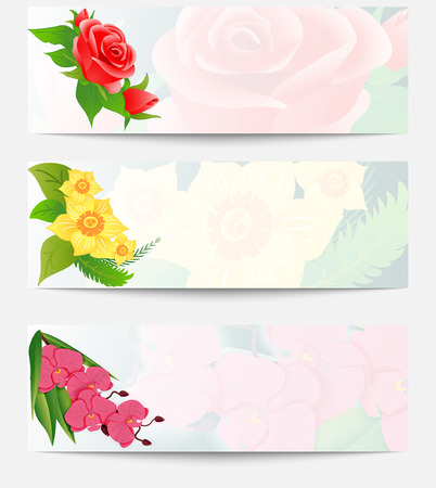 pink orchid: Set of three web banners with bouquets of flowers. Red roses bud, yellow daffodils and pink orchid in a horizontal orientation. Vector illustration.