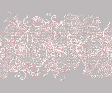 Lace seamless horizontal ribbon. White with pink flowers on a gray background. Vector illustration. Çizim