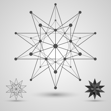 Monochrome skeleton of connected lines and dots. Great stellated dodecahedron stereometric element. Vector illustration.