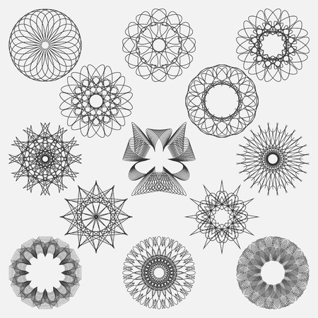 Set spirographic elements. Perfect for design templates watermarks of certificates, vouchers, banknotes cards and invitations. Vector illustration.