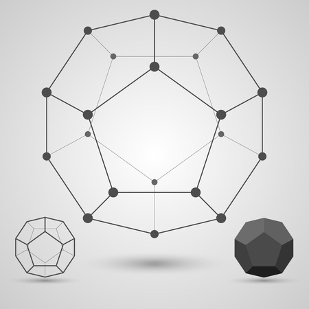 icosahedron: Monochrome  framework of connected lines and dots. Dodecahedron geometric elements. Vector illustration.