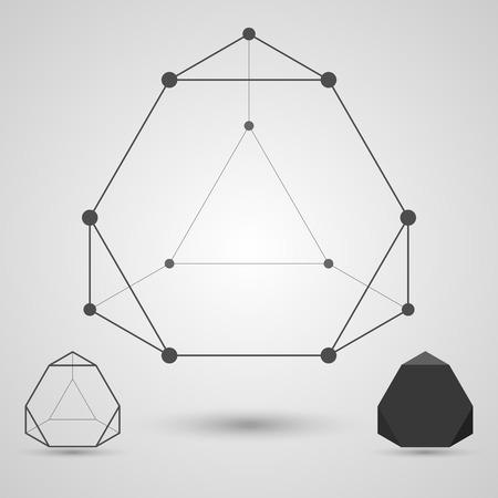 tetraedro: Monocromatico wireframe di linee collegate e punti. Tetraedro troncato elemento geometrico. Illustrazione vettoriale. Vettoriali