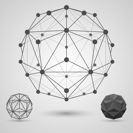 stellate: Monochrome carcass of connected lines and dots. Small triambic icosahedron geometric element. Vector illustration.