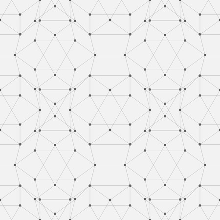 Seamless background pattern of connected lines and dots. Vector illustration. Çizim