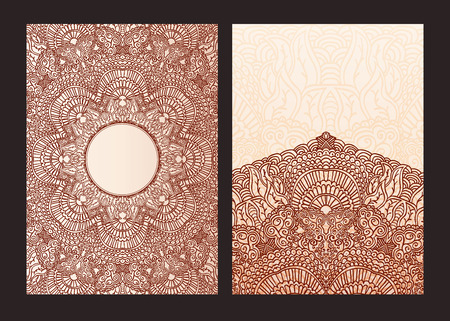 mehendi: Set of ethnic template for design wedding invitations and greeting cards. Traditional henna flowers mehndi elements of vintage patterns. Indian or Asian motif painting. Vector illustration.