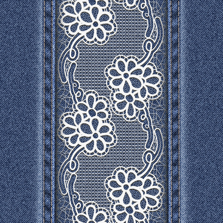 vertical divider: Jeans background with white floral tape.  Denim fabric texture. Vector illustration.