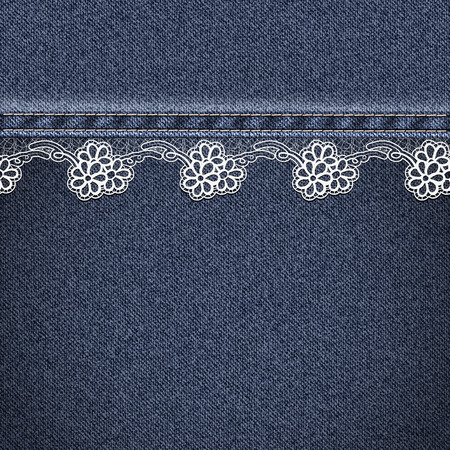 sewn: Denim fabric sewn lace ribbon. Jeans background. Vector illustration.