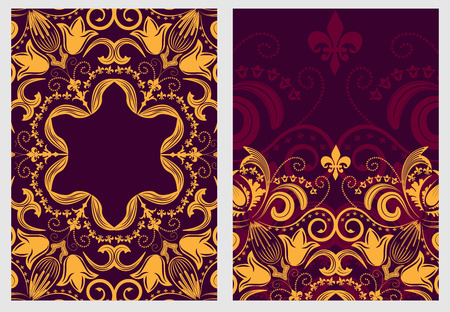 gold age: Set of stylish template for design invitations and greeting cards. Flower elegant pattern mandala in Damascus style. Vector illustration. Illustration