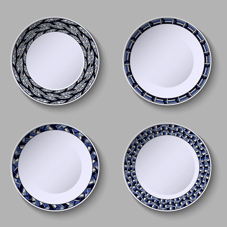 Set of decorative plates with a blue ornament of handwork and a empty space in the center. Vector illustration.