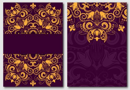 morado: Conjunto de plantilla adornado para las invitaciones de dise�o y tarjetas de felicitaci�n. Oro mandala de la flor en un fondo p�rpura en el estilo de Damasco. Ilustraci�n del vector.