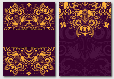 purple: Set of ornate template for design invitations and greeting cards. Gold flower mandala on a purple background in the Damascus style. Vector illustration. Illustration