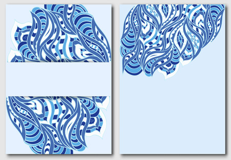 handdraw: Set of templates for design invitations or flyers in blue tones with elements of hand-draw doodles. Vector illustration.