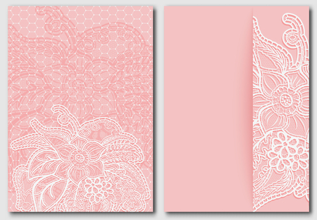 the womanly: Set lacy pink backgrounds. Templates for design of cards, invitations and save the date. Vector illustration. Illustration