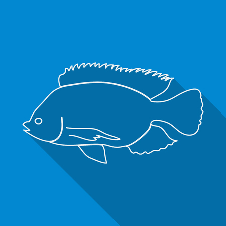 peces de acuario: Icono del contorno de pescado. Estilo plano, largas sombras. Ilustraci�n del vector.