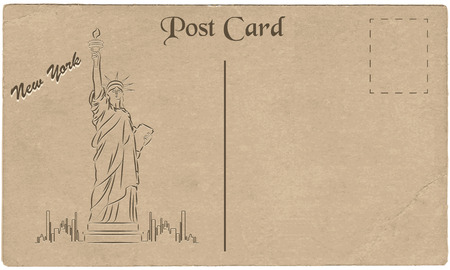 Old postcard from New York, USA with a drawing of Statue of Liberty. Stylization. Vector illustration.