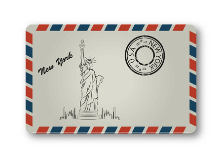 paper sculpture: Letter from New York with Statue of Liberty painted. Stylization. Vector illustration.