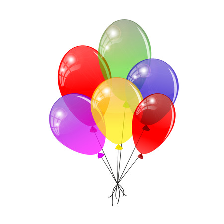 flying balloon: Transparent balloons. Multicolored balloons gathered in a bunch. Vector illustration