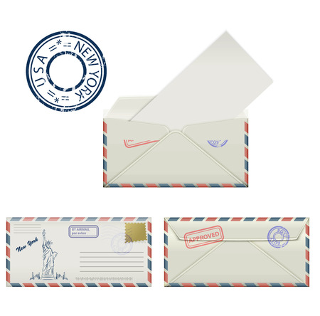 paper sculpture: Set of envelopes from New York with a painted Statue of Liberty and postmark. Stylization. Vector illustration. Illustration