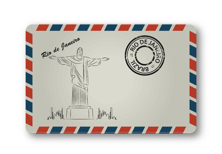 redeemer: May 05, 2015: Illustration of Christ the Redeemer statue, which is located in Rio de Janeiro, Brazil. Painted on the envelope. Vector illustration