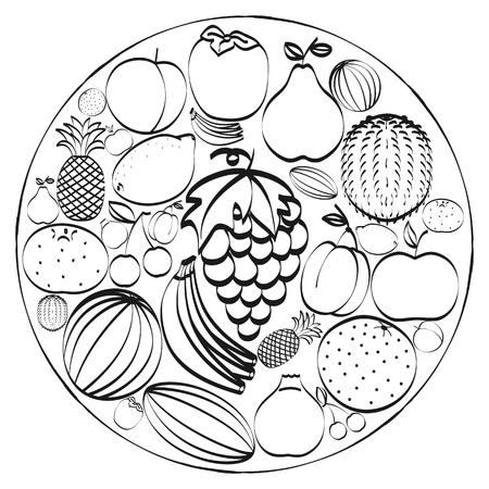 inscribed: A set of hand-drawn icons fruits inscribed in a circle. Black and white concept. Vector illustration
