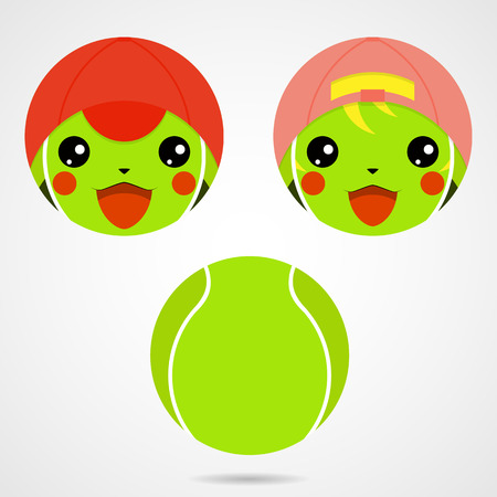 anime: Character tennis ball. Cute laughing little boy and girl in the Japanese anime style. Vector illustration
