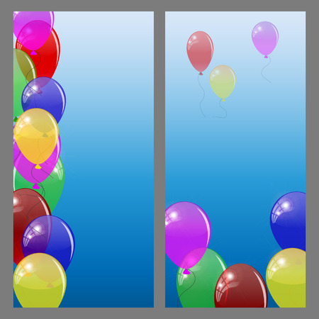 colored balloons: Set of banners or cards with  colored balloons. Vector illustration