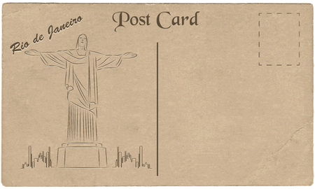 cardboard texture:  Illustration of Christ the Redeemer statue, which is located in Rio de Janeiro, Brazil. Painted on cardboard texture. Vector illustration Illustration