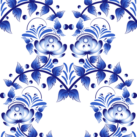 chinaware: Beautiful seamless pattern with blue flowers in gzhel style. Vector illustration