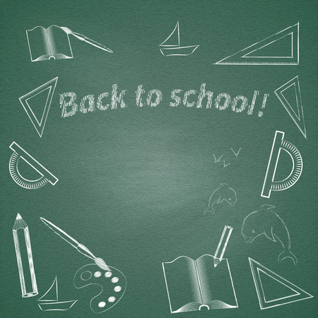 semester: Grunge background with the words chalk Back to school. Vector illustration Illustration