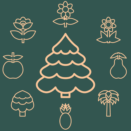 nature vector: Abstract icons outline of the subjects trees flower and fruit. Symbol of nature and naturalness. Logo design elements for organic businesses.  Vector illustration