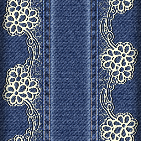 sewn: Denim and lace. Background with lace ribbons sewn vertically. Vector illustration